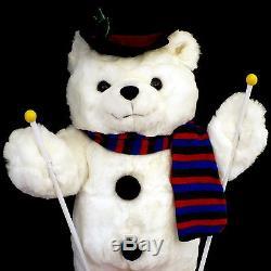 Vintage Animated Christmas Figure /'boy' Teddy Bear / Ski Teddy Bear / As-is