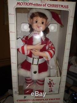 Vintage Animated Christmas Telco Motionette Pixie Elf Baker with Box Auburn Hair
