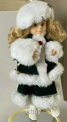 Vintage Animated Electric ELCO MOTION-ette Christmas Ice Skater Victorian girl