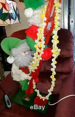 Vintage Animated Elf Ladder Trimming Tree Christmas Strand of Popcorn