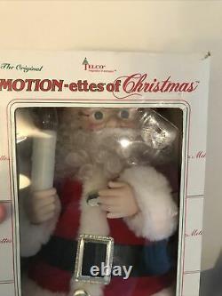 Vintage Animated Mr Mrs SANTA CLAUS Lighted TELCO Motion-ettes Original Box Rare