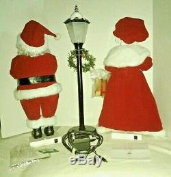 Vintage Animated Trim a Home Mr. & Mrs. Santa Claus & Light Post Lighted Motion