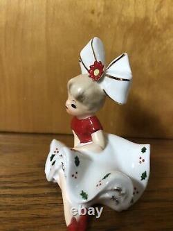 Vintage Christmas Bloomer Girl Poinsettia Big Bow Figurine Japan HTF 1963 Inarco