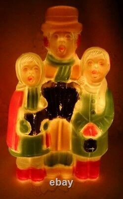 Vintage Christmas Carolers Blowmold Blow Mold Miniature Plastic Lights Up