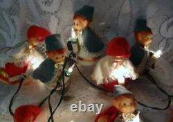 Vintage Christmas Holiday Light Set Santa Helpers 10 Elves Elf Pixie String