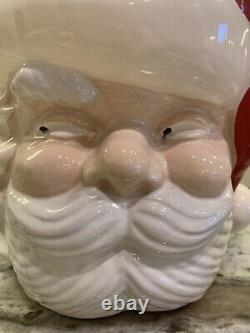 Vintage Christmas Santa Face Punch Bowl, Cups and Ladle Ceramic