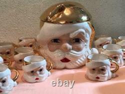 Vintage Christmas Santa Face Punch Bowl Set With LID Plus 8 Santa Mugs