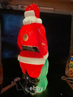 Vintage Empire 46 Blow Mold Giant Santa Green Toy Sack Christmas Lighted