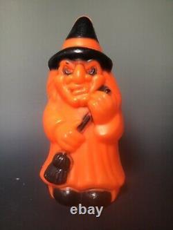 Vintage Empire Witch W Broom Halloween Light Up Blow Mold orange black decor