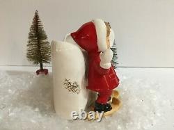 Vintage Fine A Quality Skier Girl Planter Christmas Ceramic Figurine Japan Napco