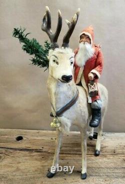 Vintage German Santa on Reindeer Candy Container 16