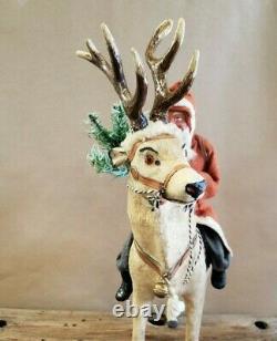Vintage German Santa on Reindeer Candy Container 17