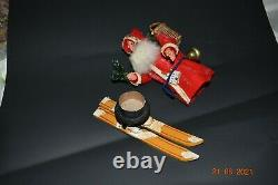 Vintage German St. Nikolaus on Skis Candy Container RARE