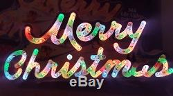 Vintage Holiday Glow Merry Christmas multi- function Lighted Greetings Sign HTF