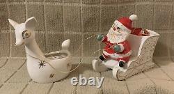 Vintage Holt Howard Christmas 1959 Santa with Reindeer Candle Holder/Planter