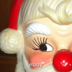 Vintage Jolly Santa HEAD FACE XMAS Musical Nose Wind Up 7 Adorable Cute