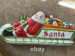 Vintage LIDCO Blow Mold Lighted Santa Sleigh 8 Reindeer Lighted Outdoor Display