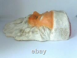 Vintage Large Paper Mache Santa Face Head Wall Hanging 17 x 11