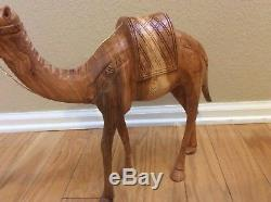 Vintage Large Simpich Doll Christmas Camel Carved Wood