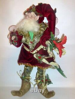 Vintage Mark Roberts 2002 Large 19 Holly Jolly Fairy Elf w Red Cardinal 58/2000