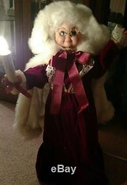 Vintage Mrs. Claus Christmas Doll With Candle Free Shipping