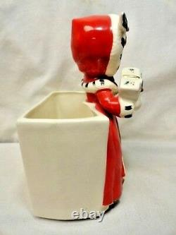 Vintage Napco Christmas Shopper Girl Planter Mica Gold Holly Berry Candy Holder