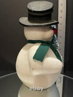 Vintage Paper Mache Pulp Snowman Candy Container Germany Holding Tree