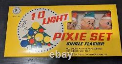 Vintage Pixie Set Christmas Xmas Lights Elf