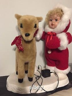 Vintage Rare Santa's Best Animated Christmas Girl Doll and Deer Red 21 x 17