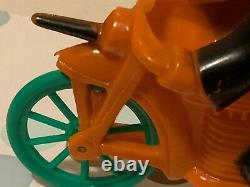Vintage Rosbro Rosen Plastic Orange and Black Witch and Pumpkin on Motorcycle