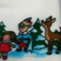 Vintage Rudolph Rudolf Red Nose Reindeer Island o Misfit Toys FleeceThrow 56x58