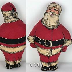 Vintage Santa Claus Mid Century Christmas Cloth Pillow 19 Tall