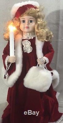 Vintage Santas Best Animated Porcelain Doll Patricia 24 Rare Excellent Working