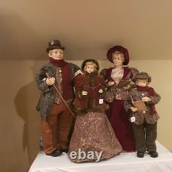 Vintage Set Of 4 Victorian Christmas Carolers Family Adults 40 Children 28