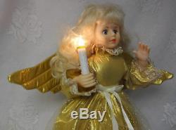 Vintage Telco Animated Motion-Ette Christmas Gold Angel w Light Orig Box