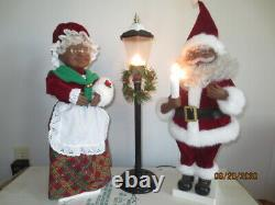 Vintage Telco Black Santa Mrs. Claus Motionette with Light Post Christmas Animated