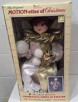 Vintage Telco Motion-ettes Christmas Animated Clown Jester Elf White Gold RARE