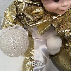 Vintage Telco Motion-ettes Christmas Animated Clown Jester Elf White Gold RARE