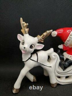 Vintage Ucagco Christmas Santa Girl On Sled With Reindeer Figurine Japan