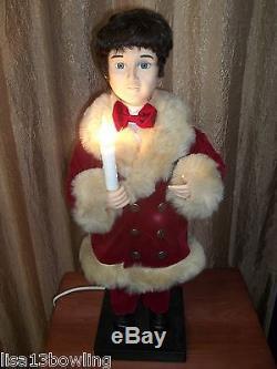 Vintg Animated Boy/Girl Victorian Christmas Carolers Illuminated Candles Figures