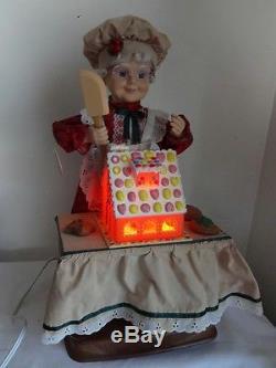 Vntg Telco Motion-Ette Lighted Animated Christmas Mrs Santa w Ginger Bread VIDEO