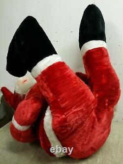 Vtg 1950s Large 54 Stuffed Plush Sitting Rubber Face Santa Claus, Store Display