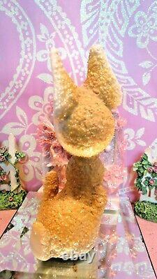 Vtg ARNART Champagne SUGARED SALT GLAZED Fur Fawn Deer Red Polka Dotted Bow Tie