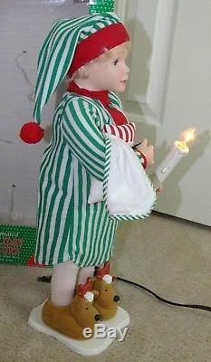 Vtg Animated Lighted Pajama Boy Reindeer Slippers Pillow Blanket Christmas Doll