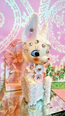 Vtg Christmas SUGARED SALT GLAZED Fawn Deer W RHINESTONE FACE GOLD BELL JAPAN