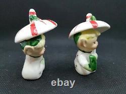 Vtg Extremely RARE Napco Christmas Elf NOEL Pixies under Candycain Umbrella