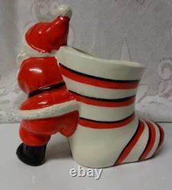 Vtg Japan Christmas Santa Stocking Porcelain Planter Candy Jar Holder Figure