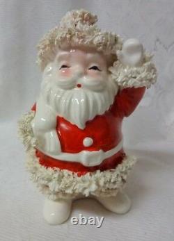 Vtg Napco Spaghetti Santa Ceramic Planter Christmas Decor 50s Cookie Jar Planter