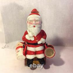 Vtg Xmas Cheer Ceramic Blushing Santa Claus Decanter w 4 Shot Mugs Dan Brechner