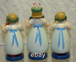Wendt & Kuhn 3 Santa Lucia Girl Figurines Set 6305/N Wood Erzgebirge Germany